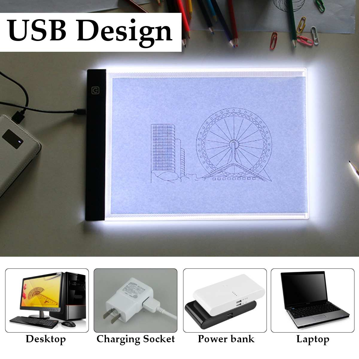 A4 A5 LED Light Box Adjustable Drawing Tablet Graphic Writing Digital Tracer Copy Pad Board For Diamond Children Painting Gift