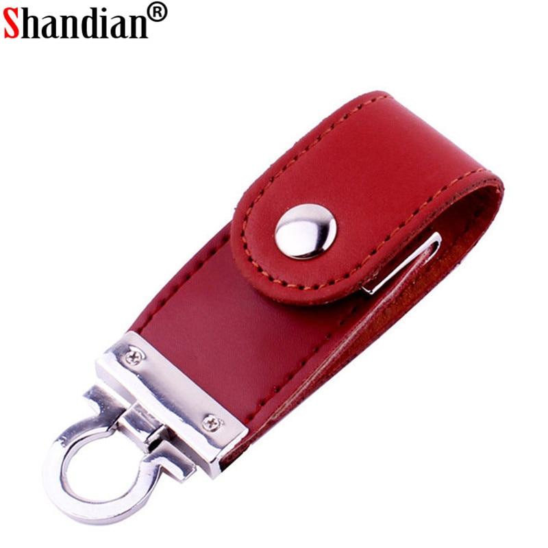 SHANDIAN Metal Keychain Pendrive 8GB 16GB 32GB 64GB Leather USB Flash Drive Pen Drive Pendriver Flash Memory Card Memory Stick