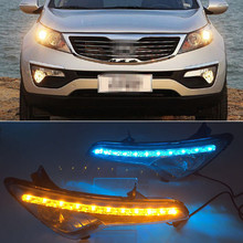 Car Flashing 1 Pair DRL For Kia Sportage 2010 2011 2012 2013 2014 Daytime Running Lights SPORTAGE R Fog head Lamp cover