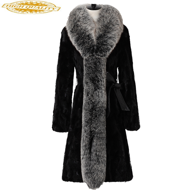 Luxury Mink Coat Female 2020 Women Long Fur Coats From Natural Fur Large Fox Fur Collar Women's Winter Jacket 21019