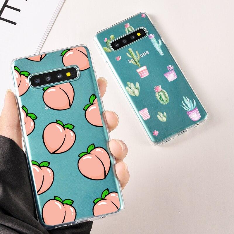 Cute Dinosaur Peach Transparent Cover For Samsung Galaxy S 9 8 Phone Case For Samsung S7 Edge Unicorn Cactus Soft Silicone Cases