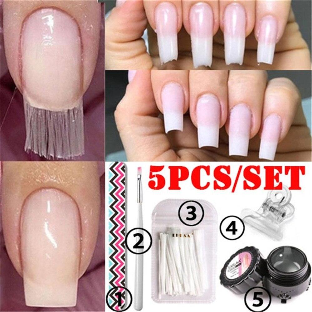 5Pcs/Set Professional Fiberglass Nail Kit Fiber Glass Nails Extension Building Manicure Salon Tweezer Nail Scraper Nail Pen Set
