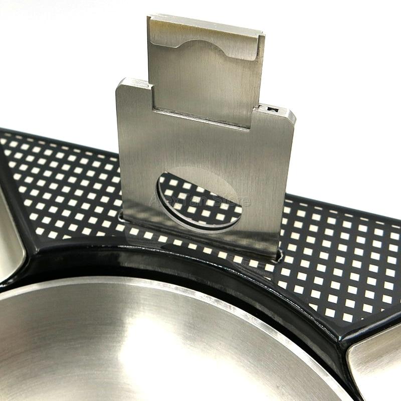 COHIBA Antislip Cutter Holder Metal 4 Slots Cigar Car Ashtray Detachable Bowl
