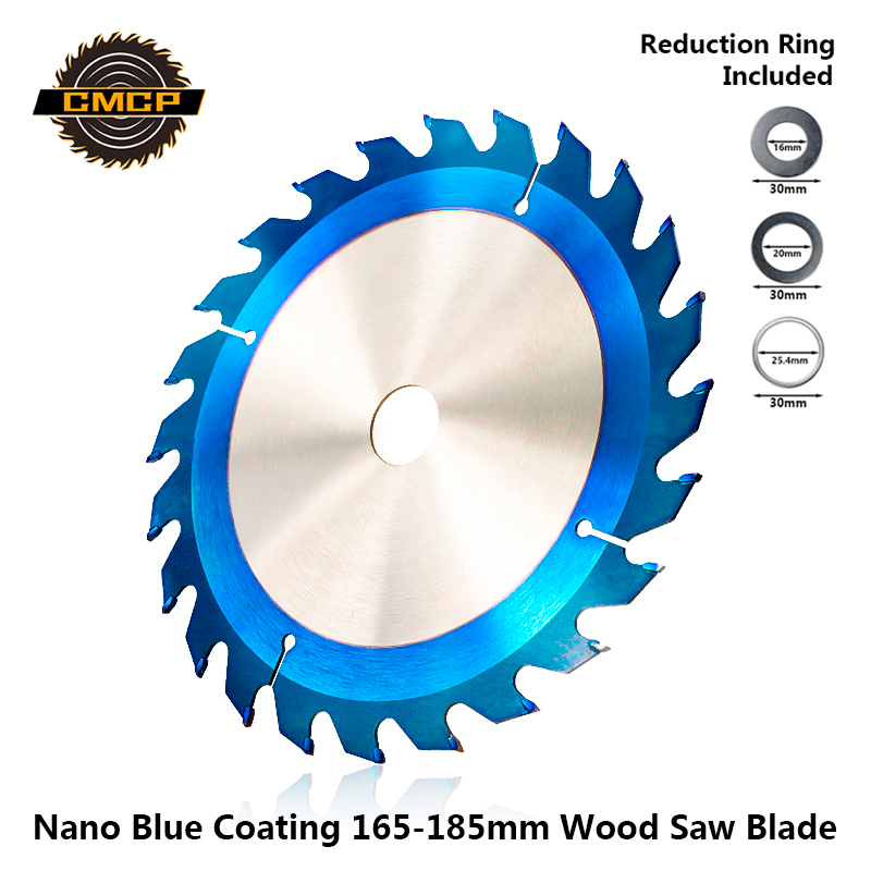CMCP Nano Blue Coated 165-185mm Circular Saw Blade For Wood  TCT Cutting Disc Woodworking Tools 24T/40T/48T Carbide Saw Disc