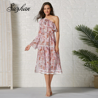 Suzhan Women Floral Print Asymmetric Organza Dress Female Oblique Sleeveless Summer Medium length Dress Lady Vestido