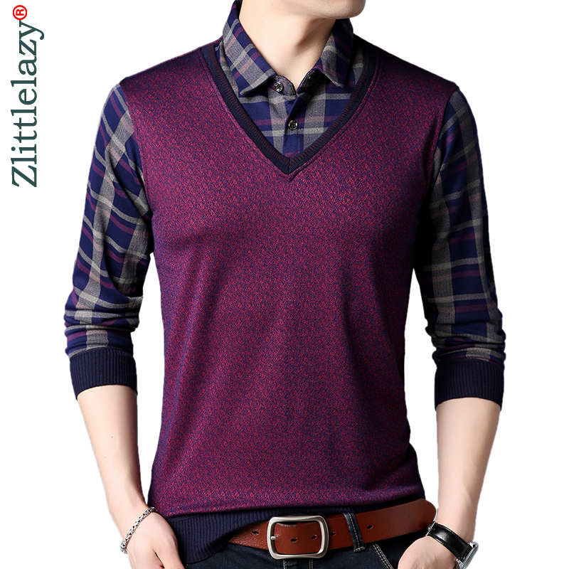 2019 brand casual fake two pieces long sleeve   polo   shirt men poloshirt jersey plaid mens   polos   tee shirts dress fashions 90381
