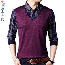 Dress Tee-Shirts Polos Poloshirt-Jersey Long-Sleeve Fake Men Casual Fashions Brand Plaid