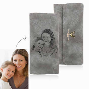 Women's Photo Engraved Trifold Photo Wallet - Grey Leather.Custom Picture PU Leather Wallet.Photo Engraved Wallet.