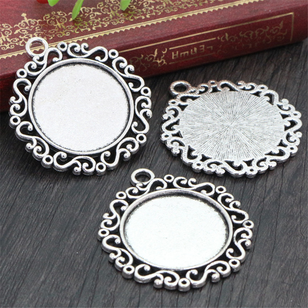 New Fashion  3pcs 25mm Inner Size Antique Silver Plated Cool Style Cabochon Base Setting Charms Pendant (A6-04)