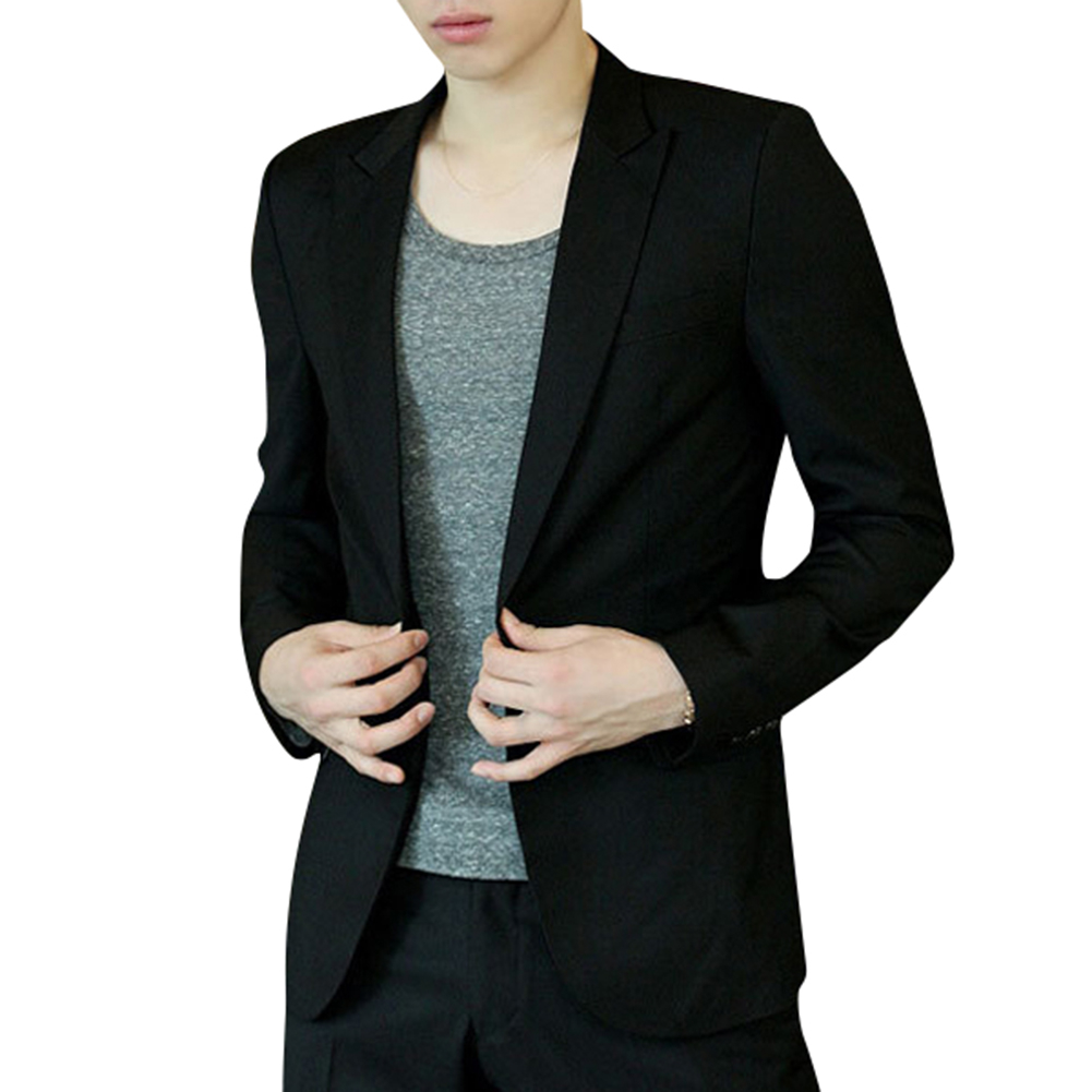 Men Blazer Coat Slim Suit Korean Style Black Casual Business Daily Jackets EIG88