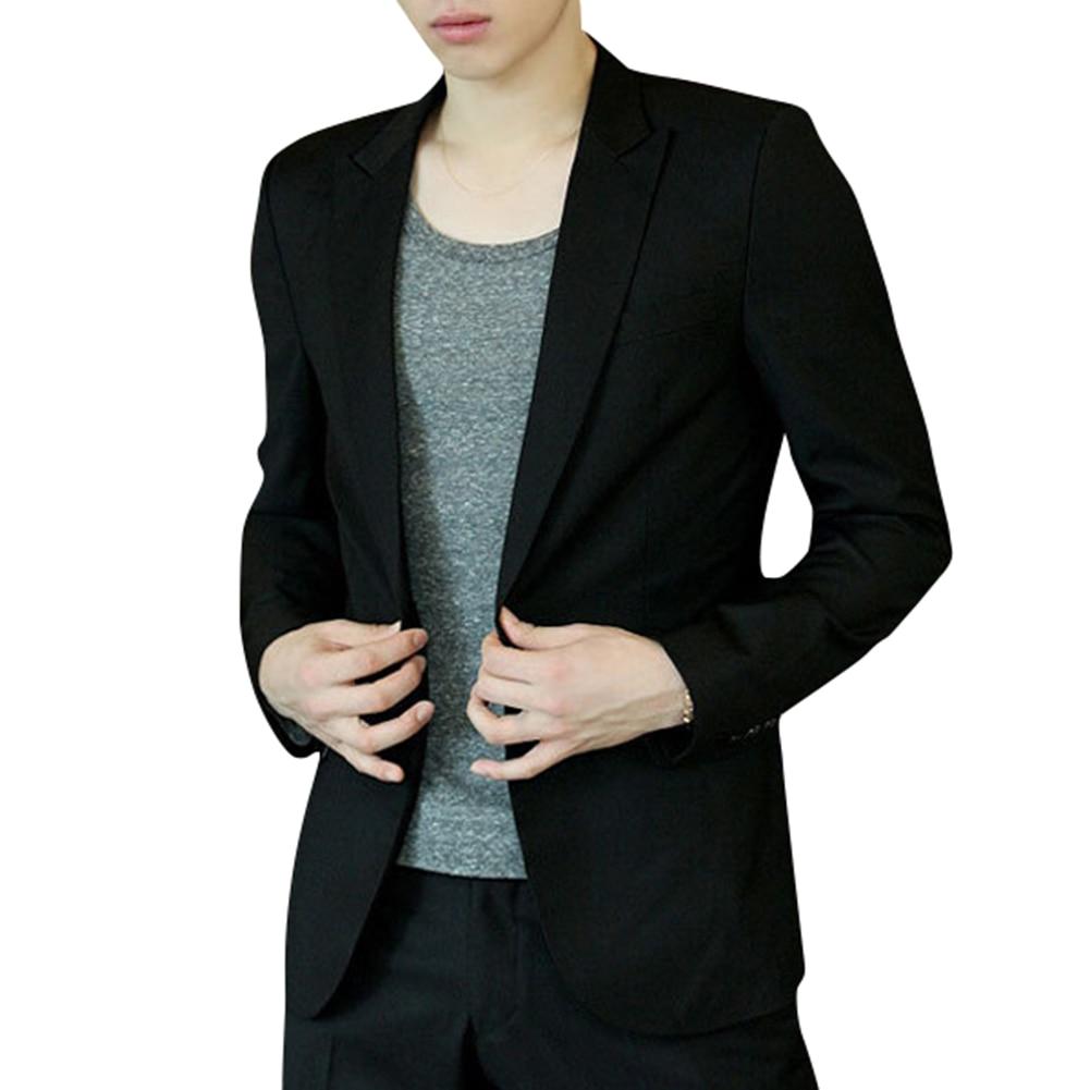 Men Blazer Coat Slim Suit Korean Style Black Casual Business Daily Jackets EIG88