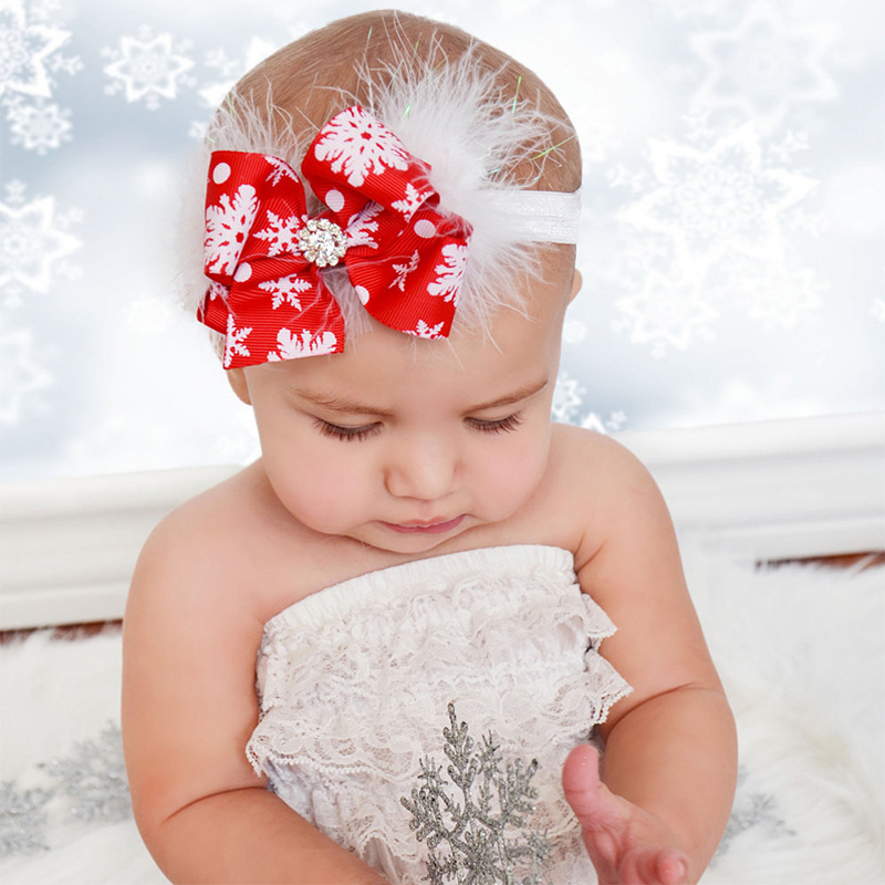 Girl Baby Christmas Hair Accessoires Red Bow Snowflake Print Handmade Soft Ribbon Hair Band Bow Feather Headband Newborn Bebe