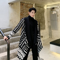 Мужской вязаный кардиган с длинным рукавом, геометрическим узором и кисточками, без пуговиц, свитер, пальто, мужская Японская уличная куртк...
