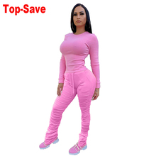 Women Set Sweat-Suit Casual Outfit Sport Stacked-Pants Crop-Top Two-Piece 2 for Fall