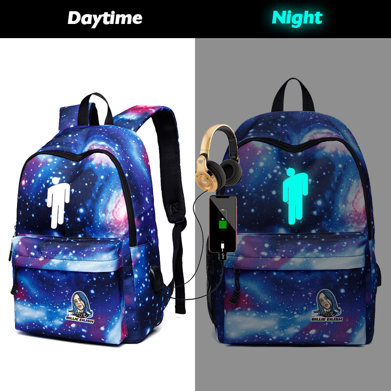 New Luminous Glow In Dark Bilie Eilish Galaxy USB Backpack School Bags For Women Girls Canvas Travel Shoulder  Laptop Bags