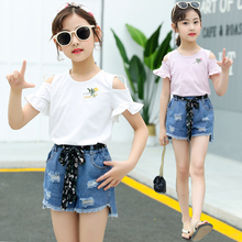 Girls 2 Piece Summer Outfit Set Kids Girl Clothes Ruffle Top + Denim Shorts Girls 2 Piece Clothing Set 2Pcs недорого
