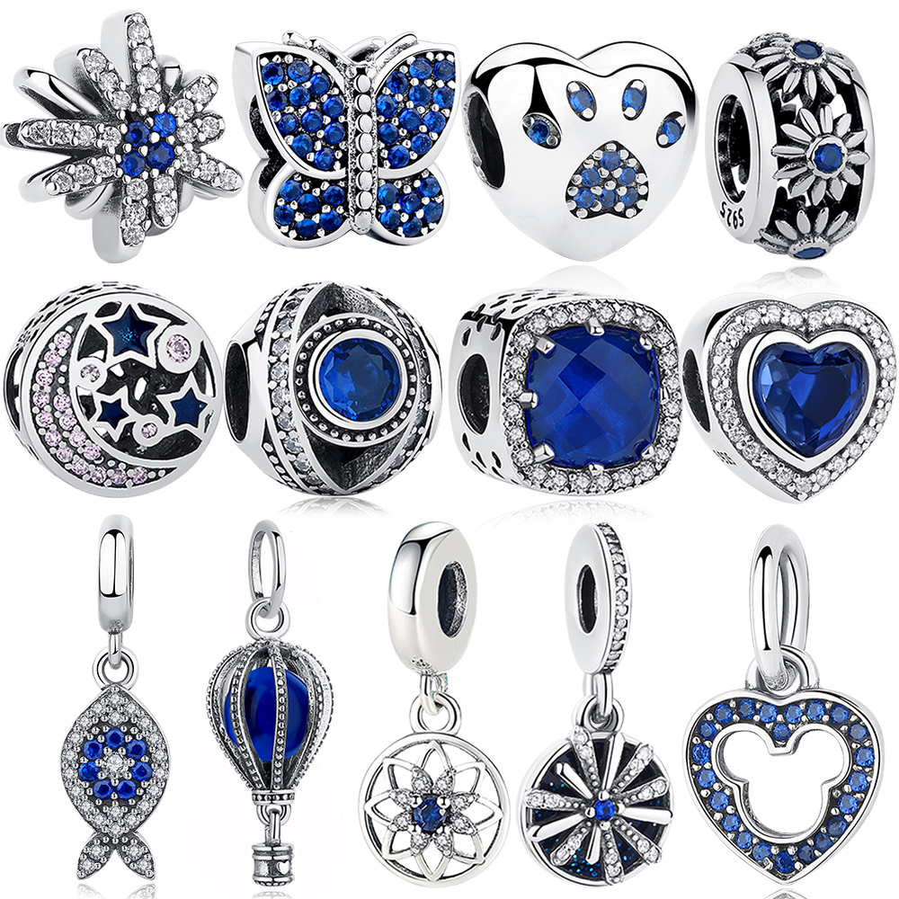 ELESHE Authentic 925 Sterling Silver Beads Blue Crystal Pet Paw Heart Star Daisy Charm Fit Original Pandora Bracelet DIY Jewelry(China)