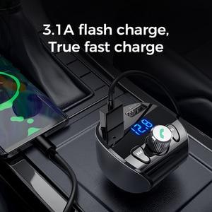 Image 3 - Joyroom Fast Car Charger FM Transmitter Modulator Bluetooth 5.0 Handsfree Car Kit Audio MP3 Player With QC3.0 Dual USB Adapter