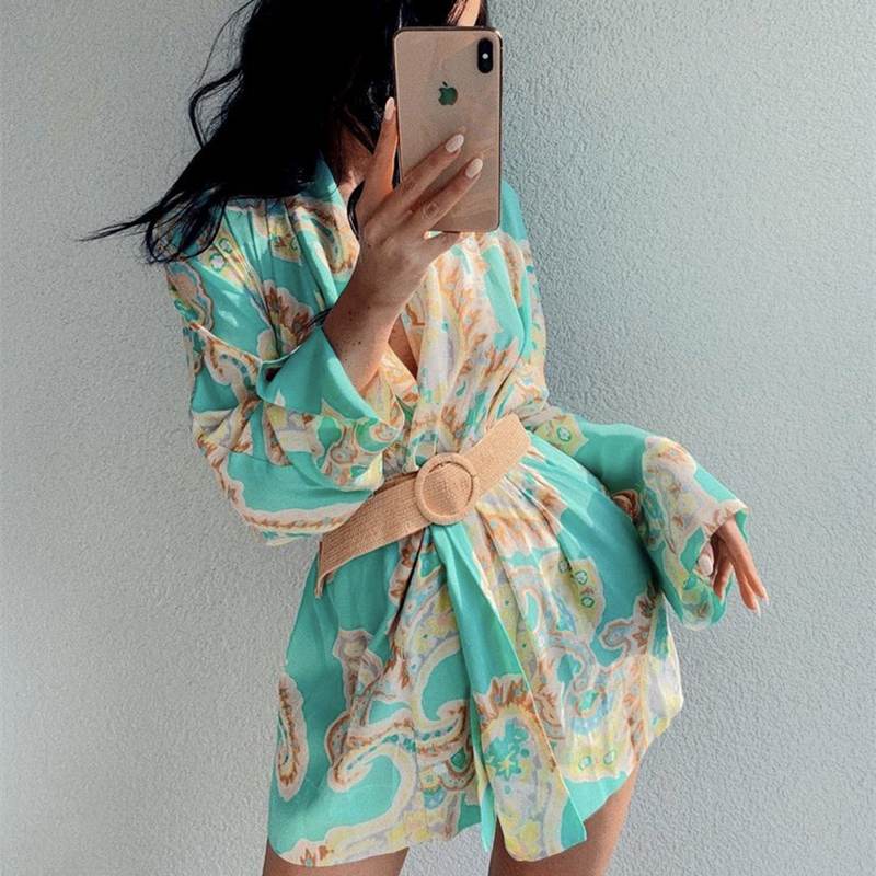 PUWD Casual Women Mint Green Print Lacing Shirt 2021 Spring Fashion Ladies Loose Holiday Tops Ladies Chic Beach Outwear
