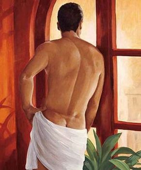 Sensuality Man after Bath Gay Interest Nude Male Back Sexy Modern Oil Painting