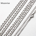Цепочка плетения «Фигаро» для мужчин и женщин, классическое ожерелье из нержавеющей стали серебристого цвета, 50 см, 60 см, 70 см, 3-6 мм