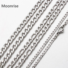 50cm 60cm 70cm Figaro Link Chain Jewelry Classic Curb Necklace 3-6MM Stainless Steel