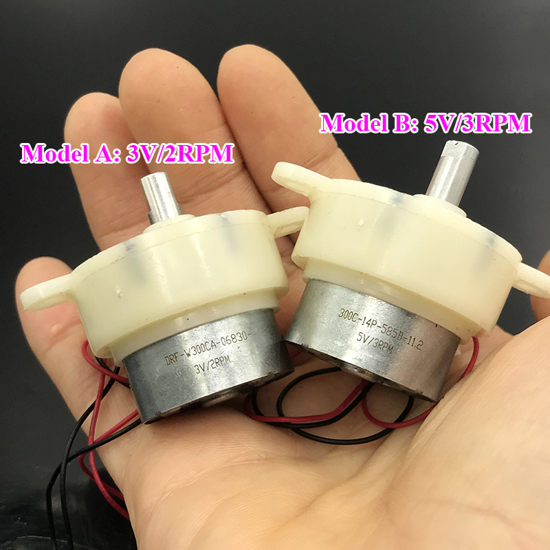 2PCS Mini 300 Low Speed DC Reduction Gearmotor Gearbox Reducer Motor DC 5V 12RPM