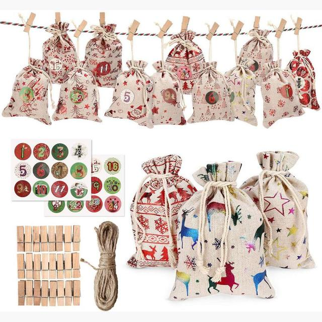Christmas Gift Bags Candy Bag 24pcs Christmas Advent Calendar Candy Storage Bag Chrismas Tree Hanging Pendant Bag New Year Decor 1