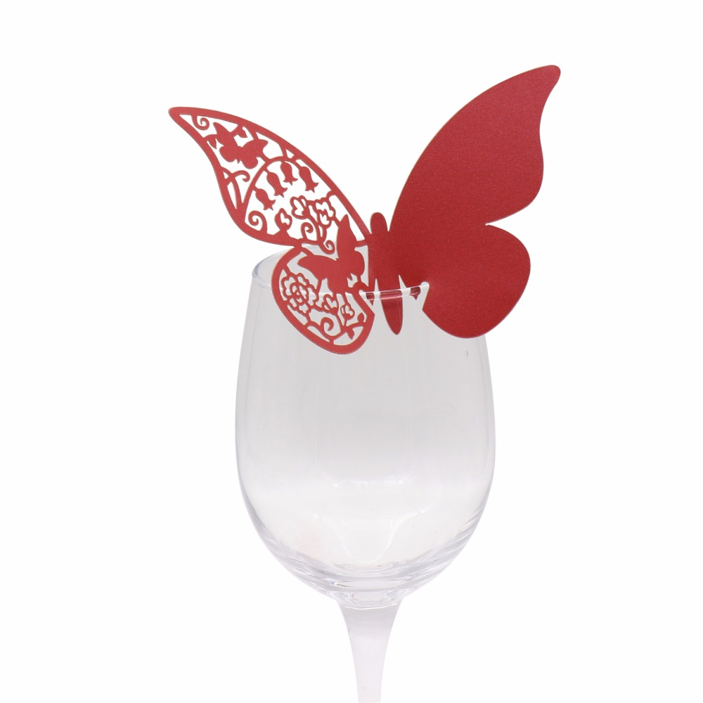 18 Colors 20pcs/lot Butterfly Paper Place Card Cup Cards Table Mark Wine Glass Cards Wedding Favors Party Decor