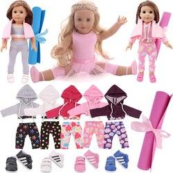 Тренировочный костюм для балета и йоги, Пижама для американской куклы 18 дюймов, одежда для девочек, аксессуары 43 см, Товары для новорожденны...