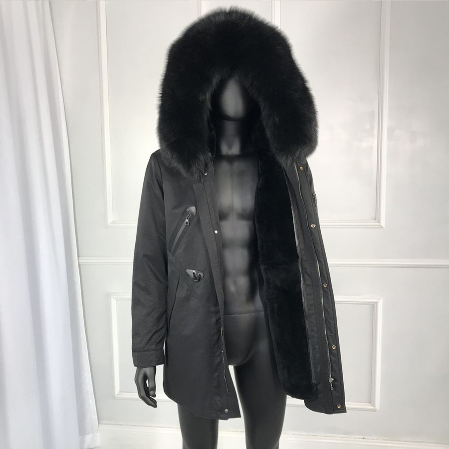 Real Fox Fur Collar Rabbit Fur Lined Hooded Parka Winter Mens Outwear High Quality 2019 New Mens Winter Outwear Classic Jacket