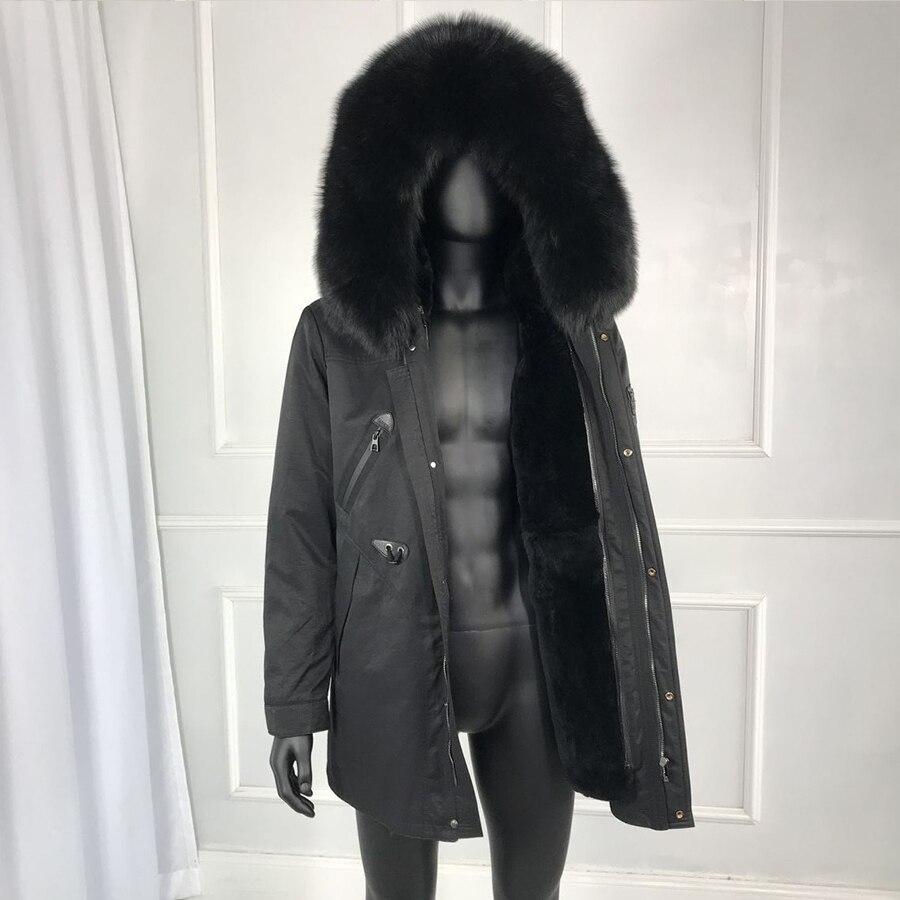 Véritable fourrure de renard col fourrure de lapin doublé à capuche parka hiver hommes outwear haute qualité 2019 nouveau hommes hiver outwear classique veste