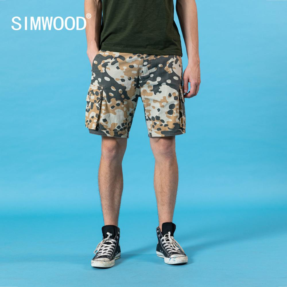 SIMWOOD 2020 Summer New Camouflage Shorts Men 100% Cotton Cargo Shorts Plus Size Militray Multi-pockets Clothing SJ120258