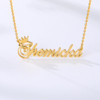 1 Set Personalized Crown Name Necklace Bracelet Anklet Jewelry Stainless Steel Chain Custom Any Letter Nameplate Pendant Gifts