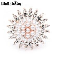 Wuli&baby Rhinestone Pearl Sun Flower Brooches Women Weddings Alloy Brooch Pins Gifts