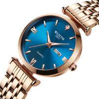 WLISTH zegarek kobiety zegarki TOP marka luksusowy zegarek kwarcowy Rose złoty zegar reloj mujer relogio feminino zegarek damski