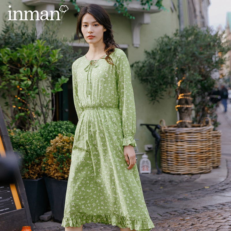 INMAN 2020 Spring New Arrival Literary Printed Cotton Round Collar Lace-up Collect Waist Lace Lower Hem Long Sleeve Dress