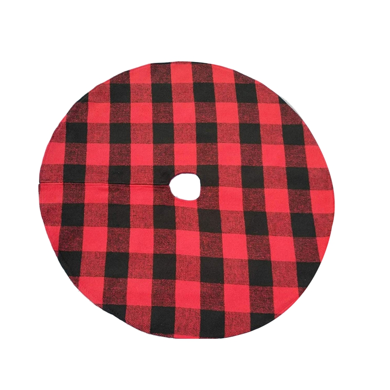 Buffalo Plaid Christmas Tree Skirt - Red Andblack Checks For Atraditional Look - Machine Wash Anddry