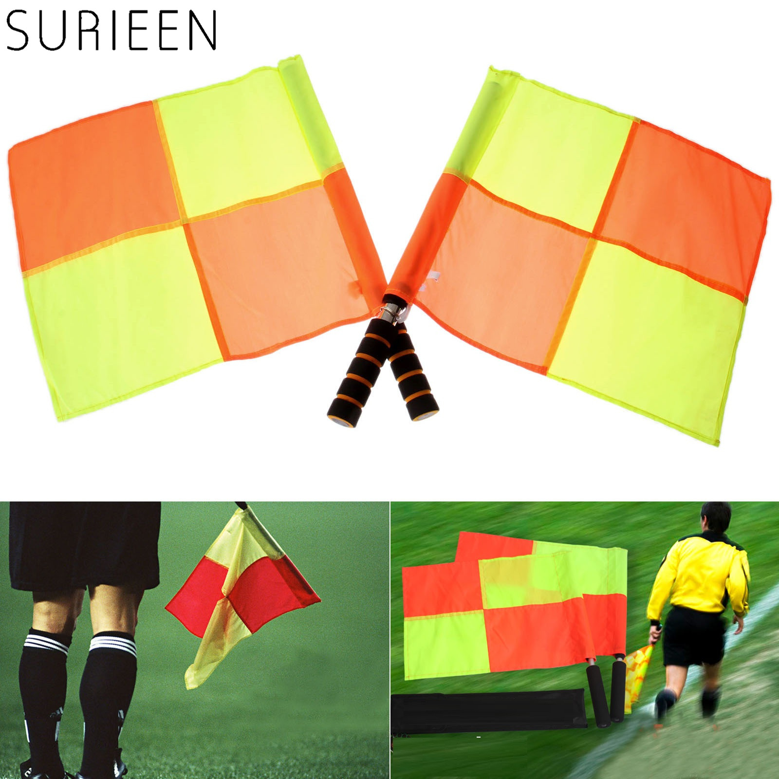 2 Pcs Soccer Referee Flags Balls Sport Match Red-Yellow Quartered Linesman Flag Stainless Steel Flagstaff Football Referee Equip