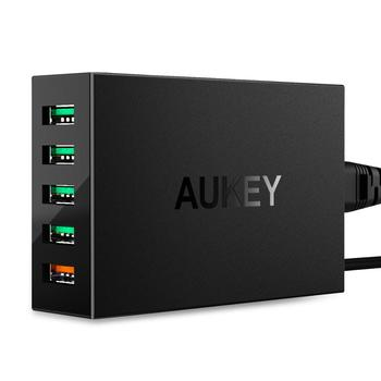 AUKEY Quick Charge 3.0 Mobile Phone Charger 5-Port USB Wall Charger 54W USB Adapter Charging Station For i-Phone11/Pro/Max i-Pad