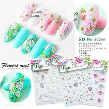 5d наклейка для ногтей искусство 12 узоров цветок самоклеящиеся