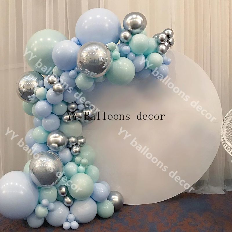 Macaron Blue Mint Pastel Balloons Garland Arch Kit Sliver 103pcs DIY Birthday Wedding Baby Shower New Year Party globos Decorati