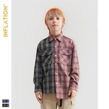 INFLATION DESIGN Relaxed Multi Stripe Kids Shirt In Blue Black Oversized Fit Retro Stripe Boy Shirt Streetwear Style Kids 19701A