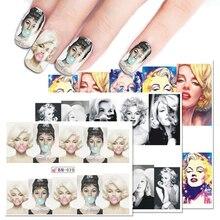 Nail-Art-Stickers Tattoo Monroe Beauty Audrey Hepburn Marilyn Manicure-Tips Water-Transfer