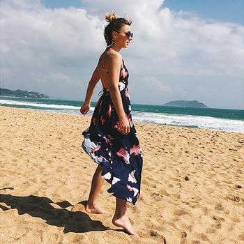 Sexy Beach Sundress Print Summer High Women Dress 2