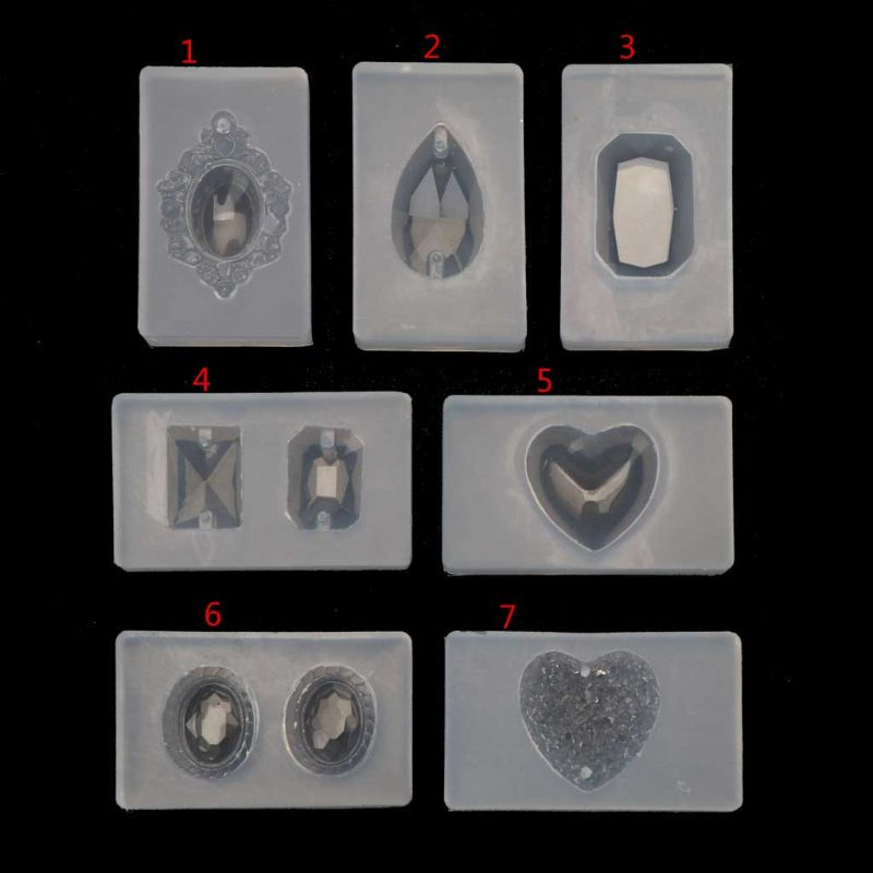Handmade Sqaure Heart Teardrop Gemstone Pendant Resin Silicone Mold Jewelry Tool