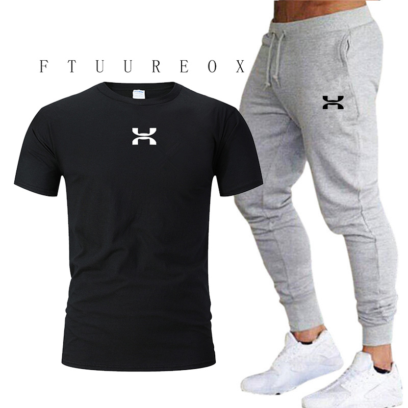 Cotton Short-sleeved Men's Tracksuit Gym Fitness Compression Sports Suit Clothes Running Jogging Sportswear Exercise Fitness Pan