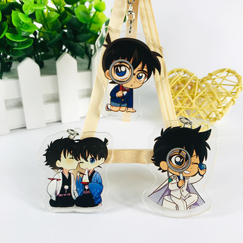 Detective Conan Keychain Accessories New a Strange Thief Kidd Acrylic Key Chains Around The Animation Cartoon Pendant Key Rings image