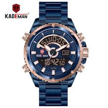 KADEMAN Luxury Men Quartz Watch Stainless Steel Digital Business Wristwatch Waterproof Military Clock Reloj Hombre