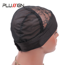 Plussign Wig Cap Hair Net Elastic Headband Wig Caps For Making Wig Mesh Dome Cap Mesh Cap Adjustable Velcro Hook 5Pcs/Lot